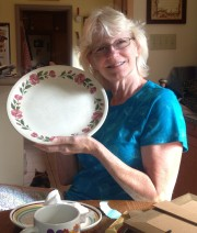 MomBert and the platter that goes with her Shenandoah pottery that her mother had.