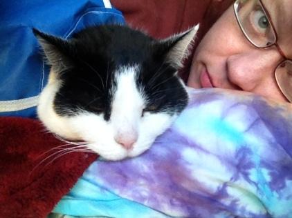 Demanding her share of the pillow. October 2013