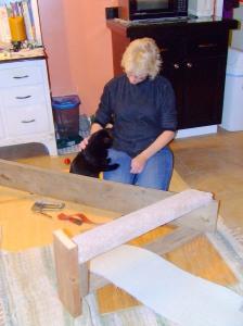 Miles helps Grammie. 2009