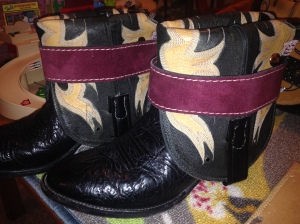 These are the boots. I learned to set snaps and rivets...sorta.