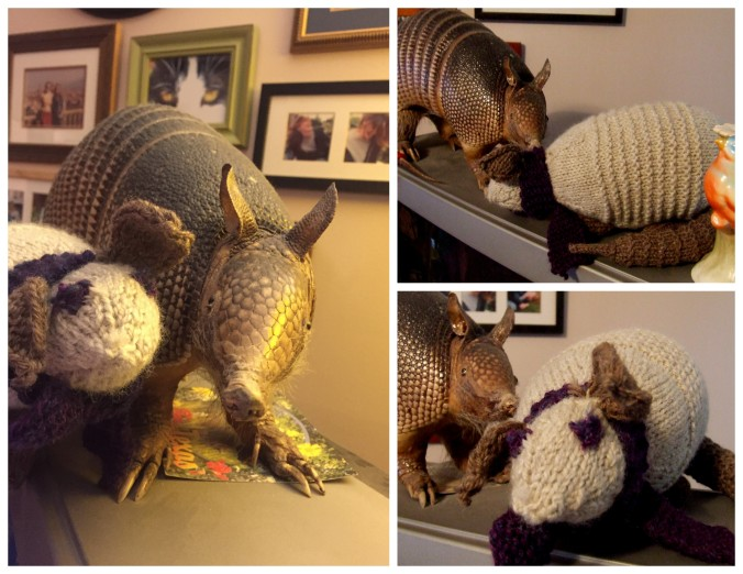 Ross the Holiday Armadillo and Owen Armadillknit